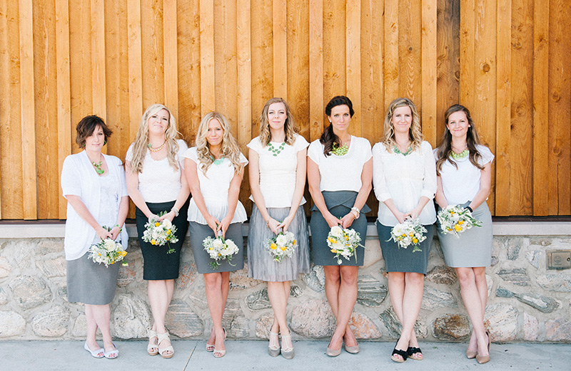gray and white bridesmaid attire